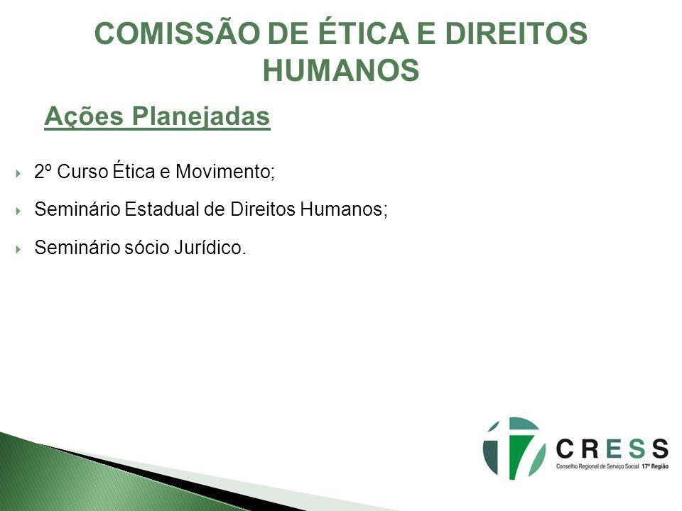 COMISSÃO DE ÉTICA E DIREITOS HUMANOS Ações Planejadas 2º Curso Ética e Movimento; Seminário Estadual de Direitos Humanos; Seminário sócio Jurídico.