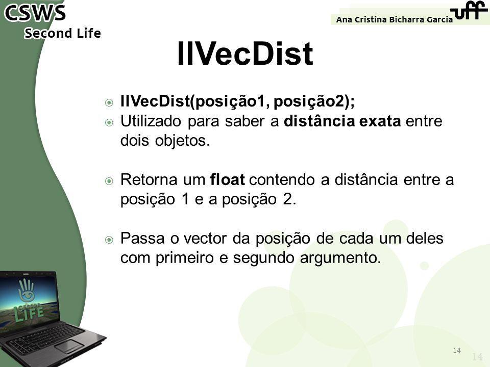 14 llVecDist llVecDist(posição1, posição2); Utilizado para saber a distância exata entre dois objetos. Retorna um float contendo a distância entre a p