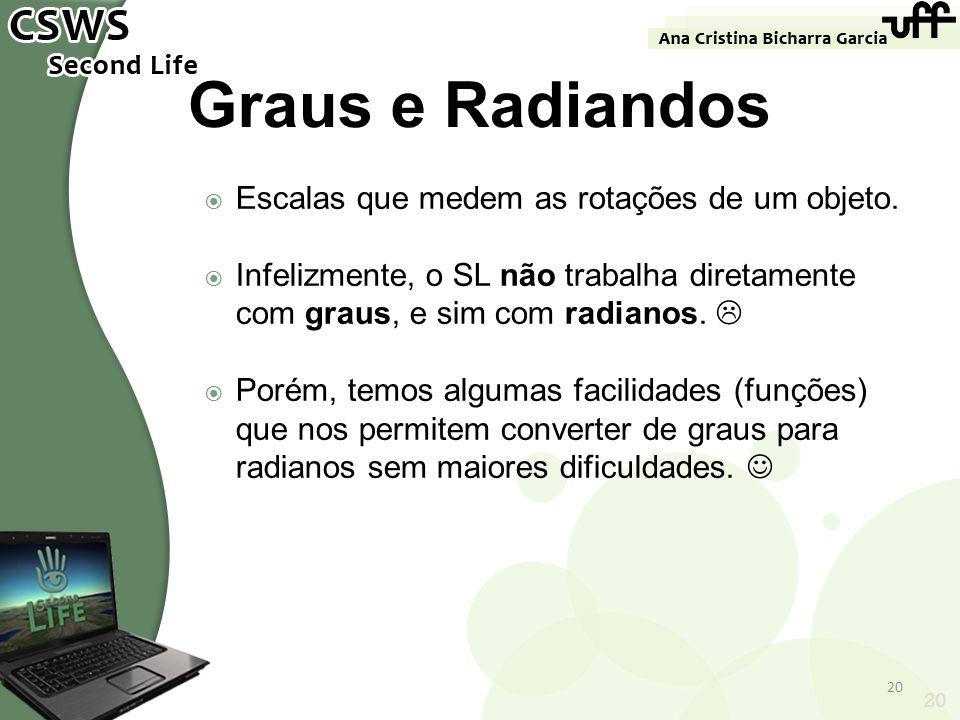 20 Graus e Radiandos Escalas que medem as rotações de um objeto. Infelizmente, o SL não trabalha diretamente com graus, e sim com radianos. Porém, tem