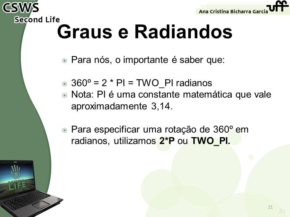 21 Graus e Radiandos Para nós, o importante é saber que: 360º = 2 * PI = TWO_PI radianos Nota: PI é uma constante matemática que vale aproximadamente