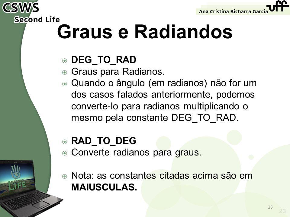 23 Graus e Radiandos DEG_TO_RAD Graus para Radianos. Quando o ângulo (em radianos) não for um dos casos falados anteriormente, podemos converte-lo par