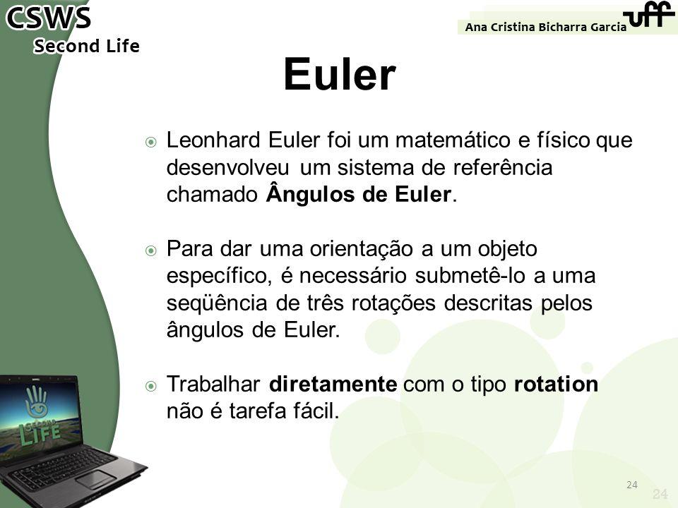 24 Euler Leonhard Euler foi um matemático e físico que desenvolveu um sistema de referência chamado Ângulos de Euler. Para dar uma orientação a um obj