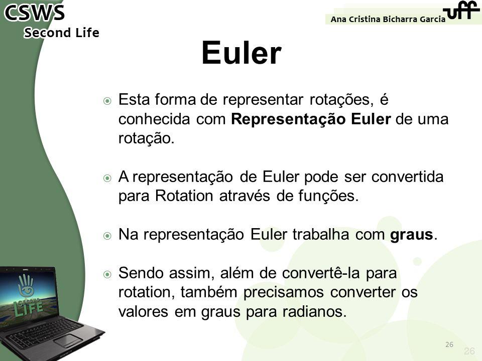 26 Euler Esta forma de representar rotações, é conhecida com Representação Euler de uma rotação. A representação de Euler pode ser convertida para Rot