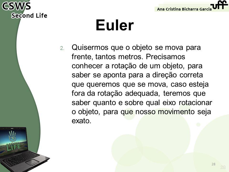 28 Euler 2. Quisermos que o objeto se mova para frente, tantos metros. Precisamos conhecer a rotação de um objeto, para saber se aponta para a direção