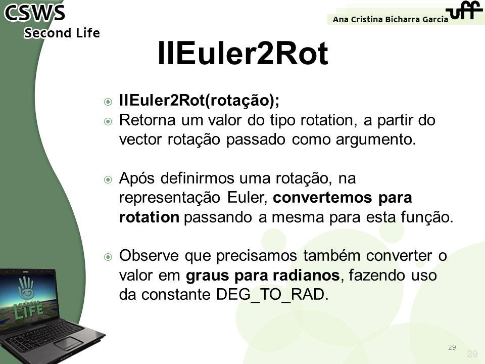 29 llEuler2Rot llEuler2Rot(rotação); Retorna um valor do tipo rotation, a partir do vector rotação passado como argumento. Após definirmos uma rotação