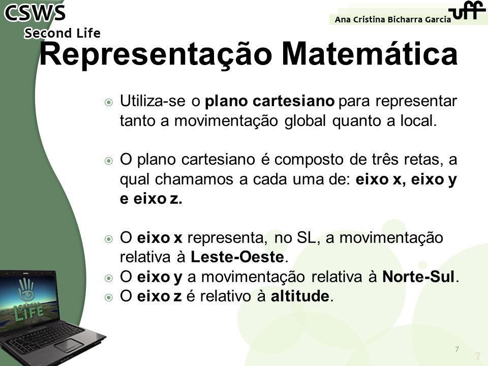 7 Representação Matemática Utiliza-se o plano cartesiano para representar tanto a movimentação global quanto a local. O plano cartesiano é composto de