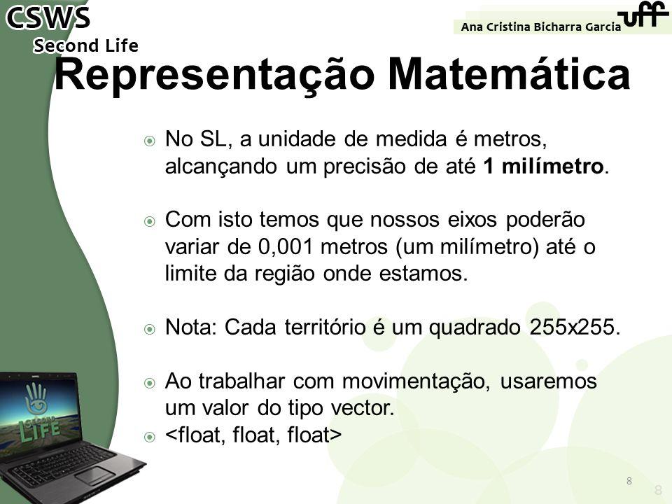 8 Representação Matemática No SL, a unidade de medida é metros, alcançando um precisão de até 1 milímetro. Com isto temos que nossos eixos poderão var