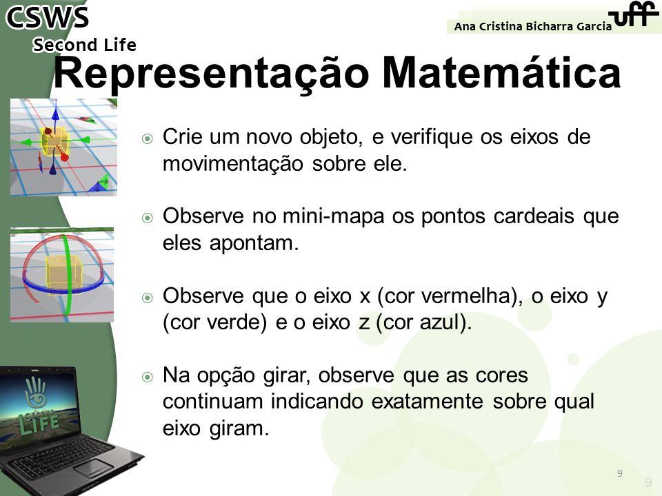9 Representação Matemática Crie um novo objeto, e verifique os eixos de movimentação sobre ele. Observe no mini-mapa os pontos cardeais que eles apont