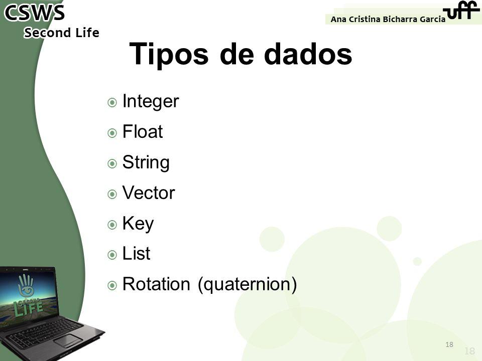 Integer Float String Vector Key List Rotation (quaternion) 18 Tipos de dados 18