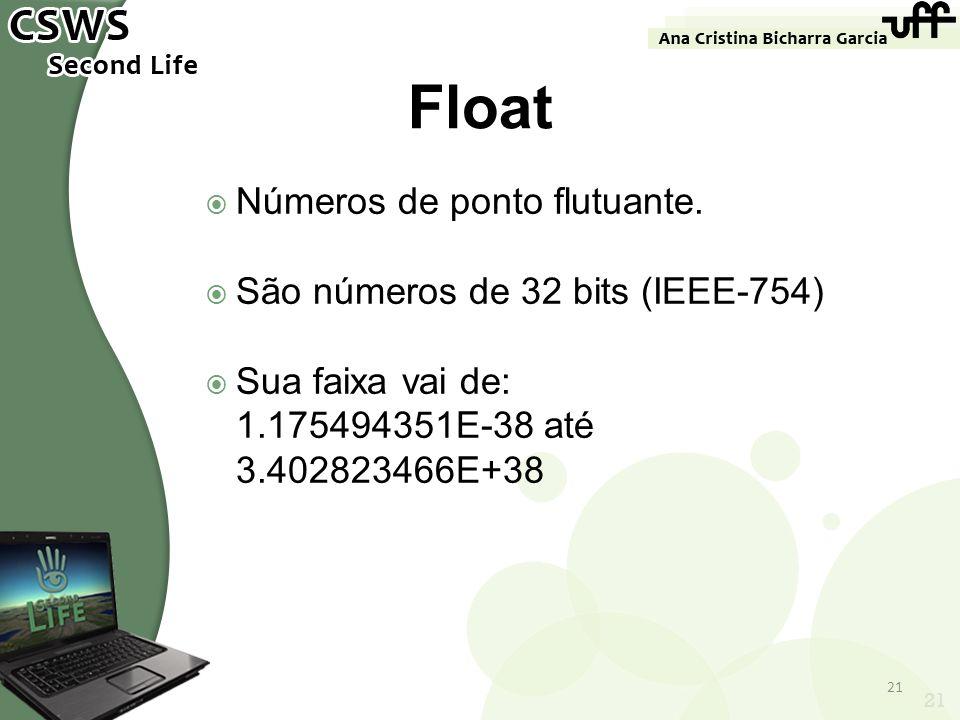 Números de ponto flutuante. São números de 32 bits (IEEE-754) Sua faixa vai de: 1.175494351E-38 até 3.402823466E+38 21 Float 21