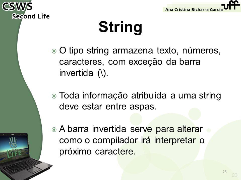 23 String O tipo string armazena texto, números, caracteres, com exceção da barra invertida (\). Toda informação atribuída a uma string deve estar ent