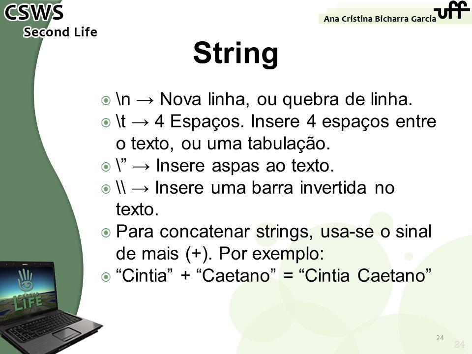 24 String \n Nova linha, ou quebra de linha. \t 4 Espaços. Insere 4 espaços entre o texto, ou uma tabulação. \ Insere aspas ao texto. \\ Insere uma ba
