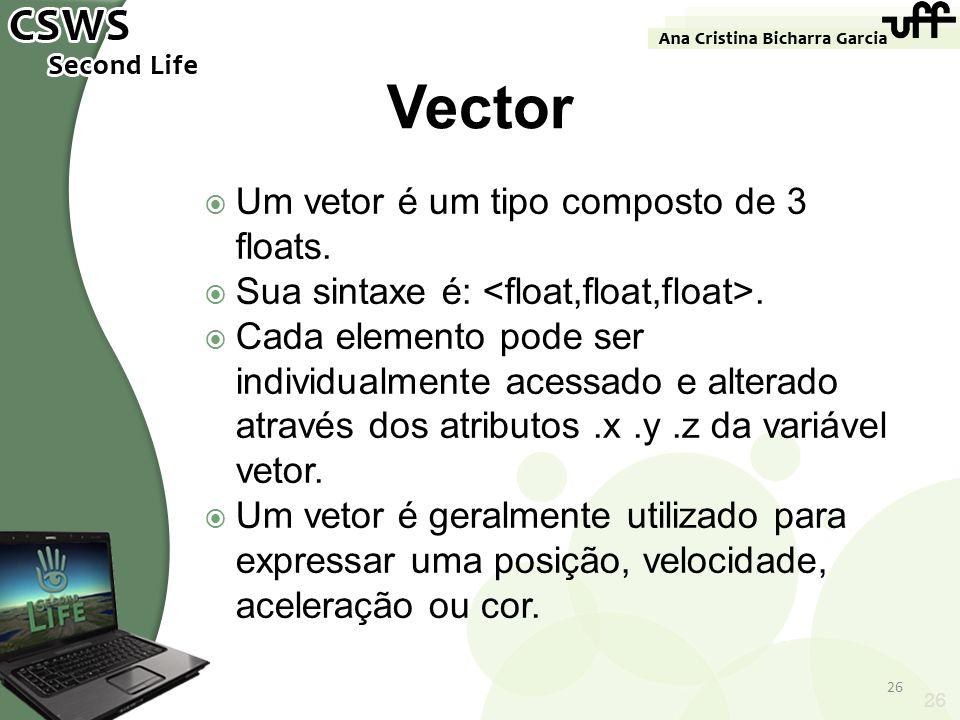 26 Vector Um vetor é um tipo composto de 3 floats. Sua sintaxe é:. Cada elemento pode ser individualmente acessado e alterado através dos atributos.x.