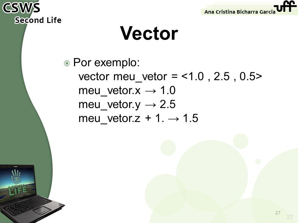 27 Vector Por exemplo: vector meu_vetor = meu_vetor.x 1.0 meu_vetor.y 2.5 meu_vetor.z + 1. 1.5 27
