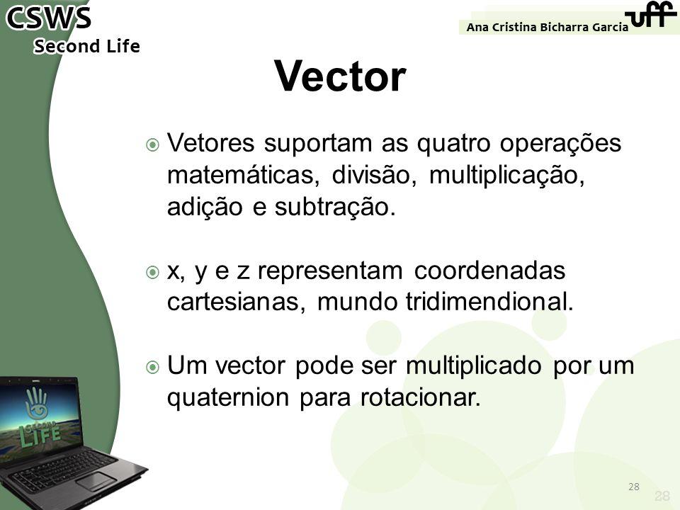 28 Vector Vetores suportam as quatro operações matemáticas, divisão, multiplicação, adição e subtração. x, y e z representam coordenadas cartesianas,