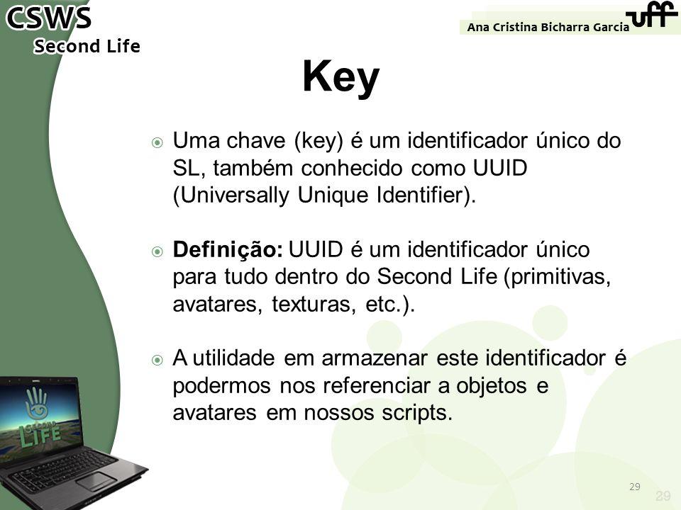 Uma chave (key) é um identificador único do SL, também conhecido como UUID (Universally Unique Identifier). Definição: UUID é um identificador único p