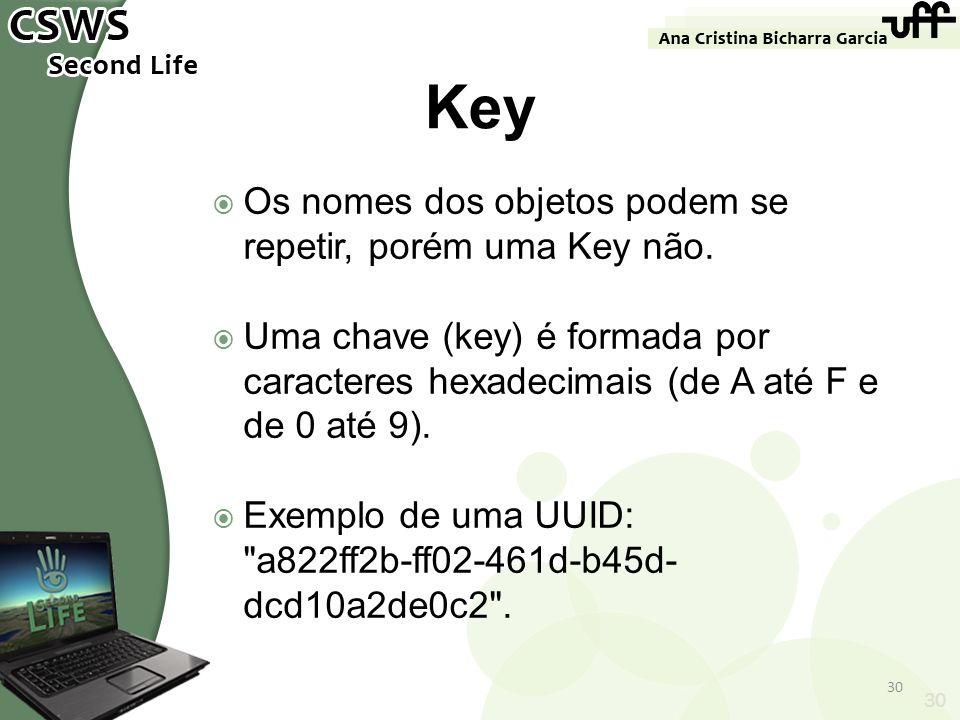 Os nomes dos objetos podem se repetir, porém uma Key não. Uma chave (key) é formada por caracteres hexadecimais (de A até F e de 0 até 9). Exemplo de