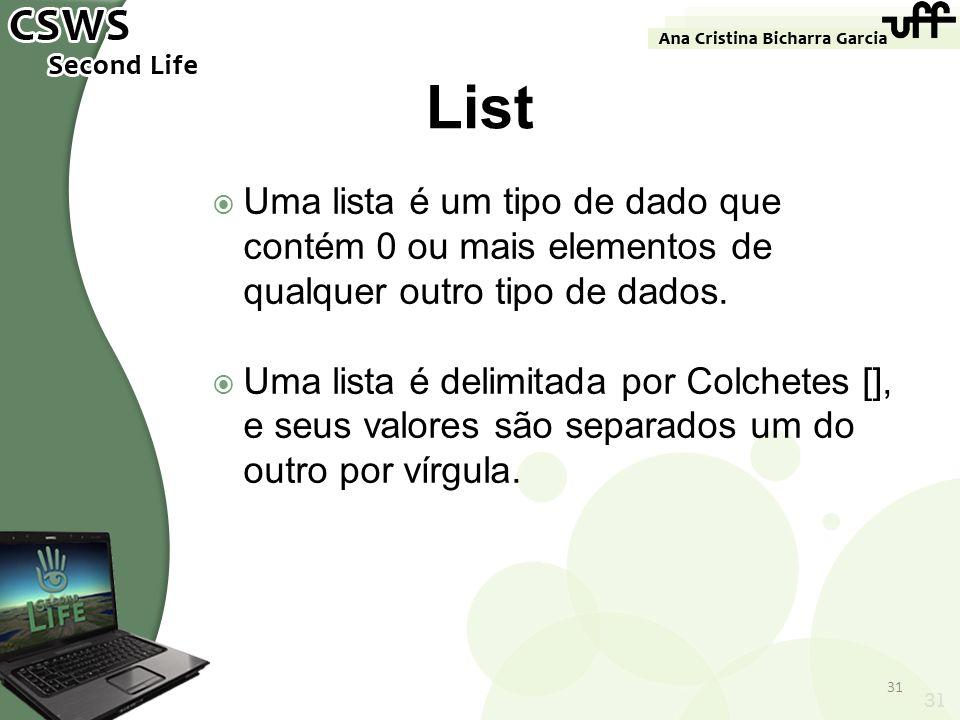 Uma lista é um tipo de dado que contém 0 ou mais elementos de qualquer outro tipo de dados. Uma lista é delimitada por Colchetes [], e seus valores sã