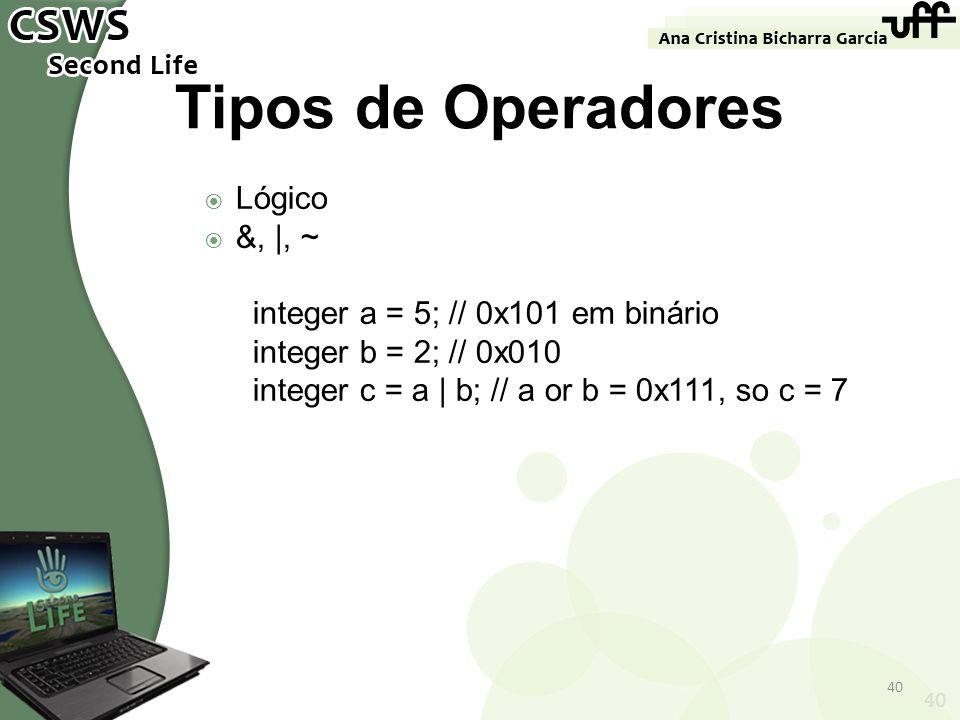 40 Tipos de Operadores Lógico &, |, ~ integer a = 5; // 0x101 em binário integer b = 2; // 0x010 integer c = a | b; // a or b = 0x111, so c = 7 40