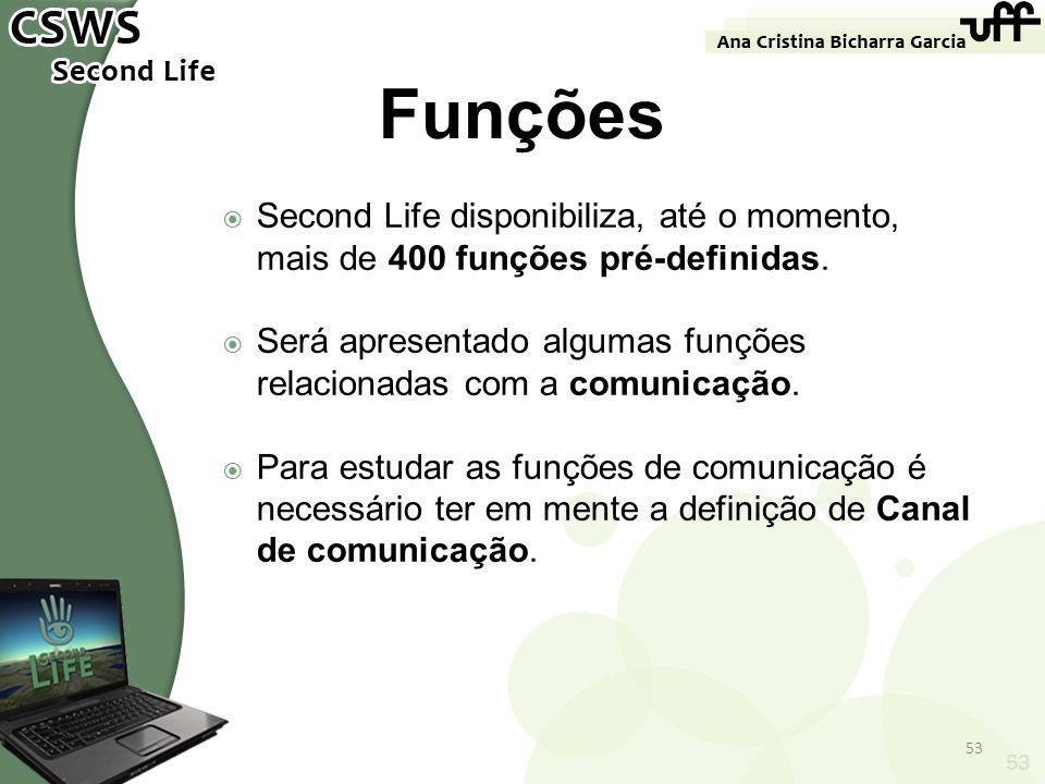 53 Funções Second Life disponibiliza, até o momento, mais de 400 funções pré-definidas. Será apresentado algumas funções relacionadas com a comunicaçã
