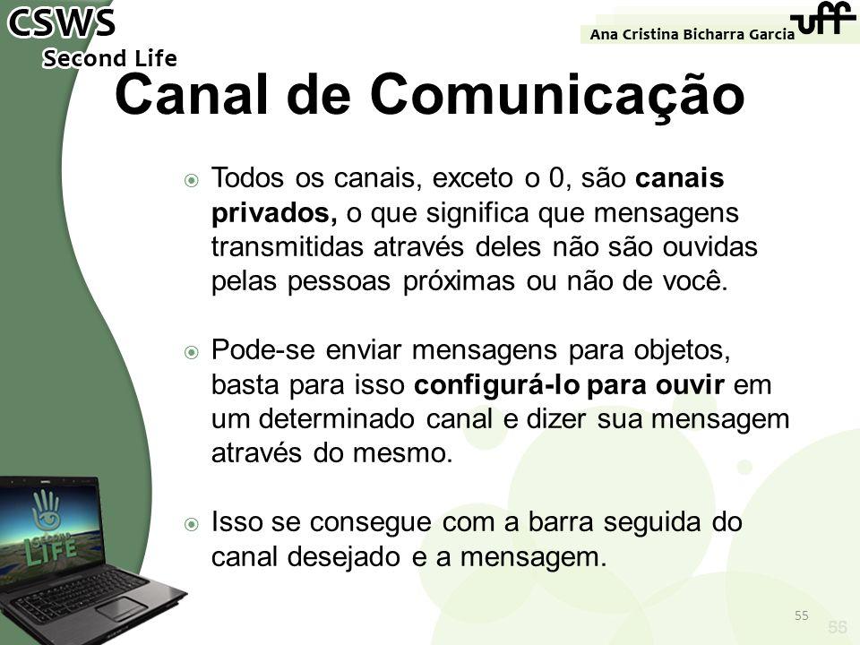 55 Canal de Comunicação Todos os canais, exceto o 0, são canais privados, o que significa que mensagens transmitidas através deles não são ouvidas pel