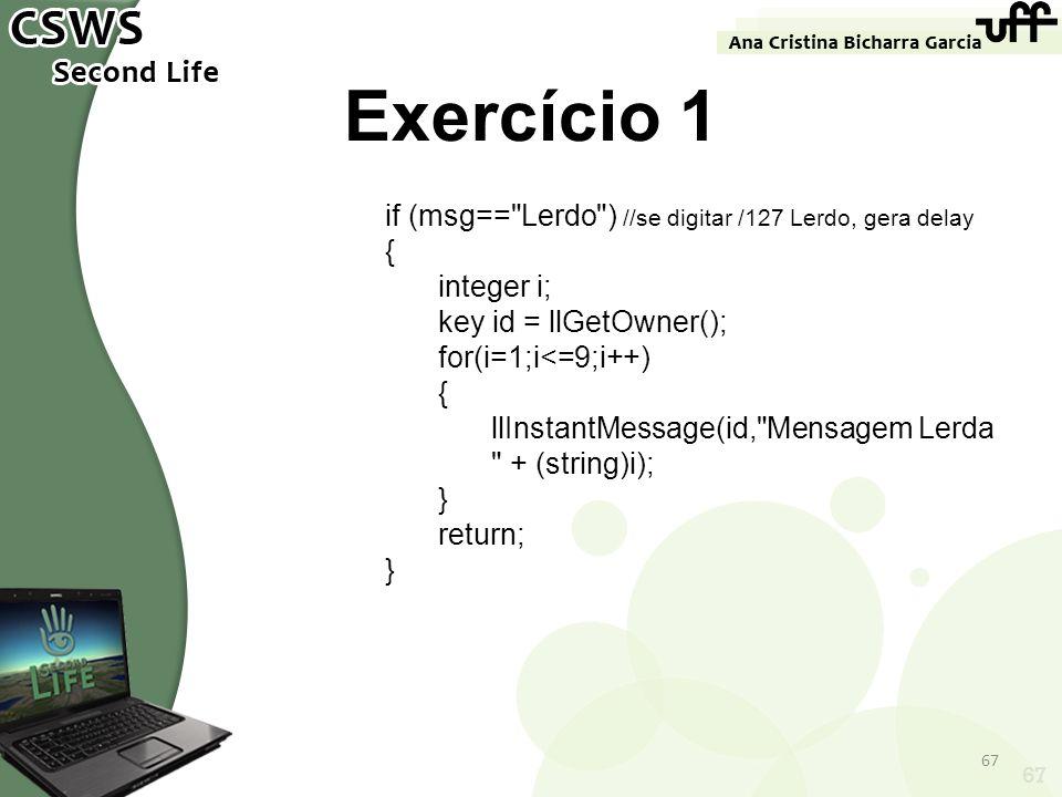 67 Exercício 1 if (msg==