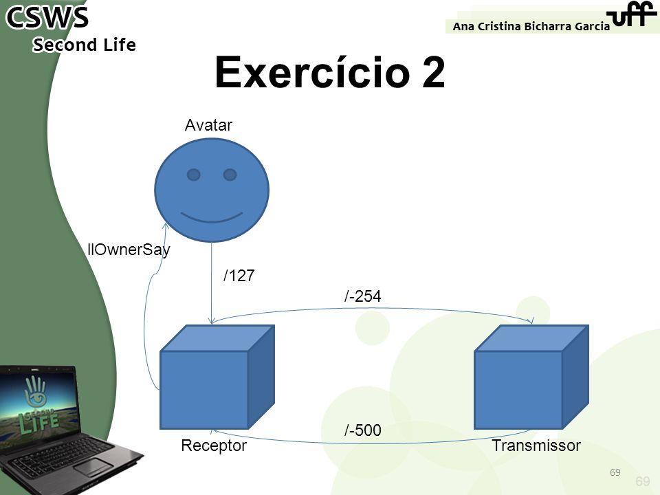 ReceptorTransmissor 69 Exercício 2 69 /127 Avatar /-254 /-500 llOwnerSay