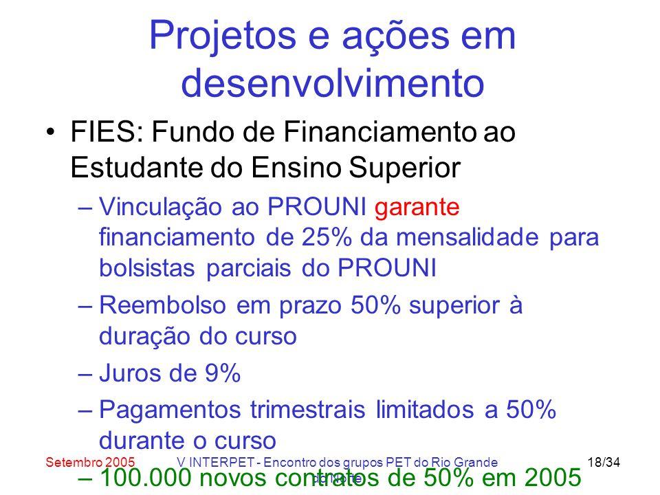 Setembro 2005V INTERPET - Encontro dos grupos PET do Rio Grande do Norte 18/34 Projetos e ações em desenvolvimento FIES: Fundo de Financiamento ao Estudante do Ensino Superior –Vinculação ao PROUNI garante financiamento de 25% da mensalidade para bolsistas parciais do PROUNI –Reembolso em prazo 50% superior à duração do curso –Juros de 9% –Pagamentos trimestrais limitados a 50% durante o curso –100.000 novos contratos de 50% em 2005