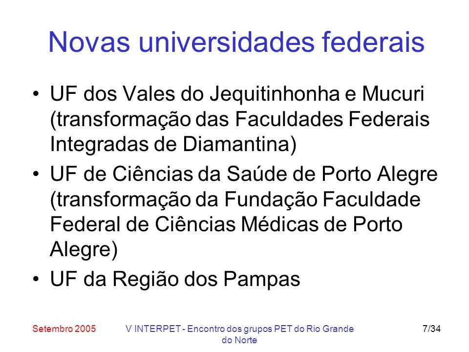 Setembro 2005V INTERPET - Encontro dos grupos PET do Rio Grande do Norte 8/34 Expansão de campi das IFES Expansão de 32 campi