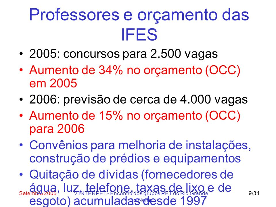Setembro 2005V INTERPET - Encontro dos grupos PET do Rio Grande do Norte 9/34 Professores e orçamento das IFES 2005: concursos para 2.500 vagas Aumento de 34% no orçamento (OCC) em 2005 2006: previsão de cerca de 4.000 vagas Aumento de 15% no orçamento (OCC) para 2006 Convênios para melhoria de instalações, construção de prédios e equipamentos Quitação de dívidas (fornecedores de água, luz, telefone, taxas de lixo e de esgoto) acumuladas desde 1997