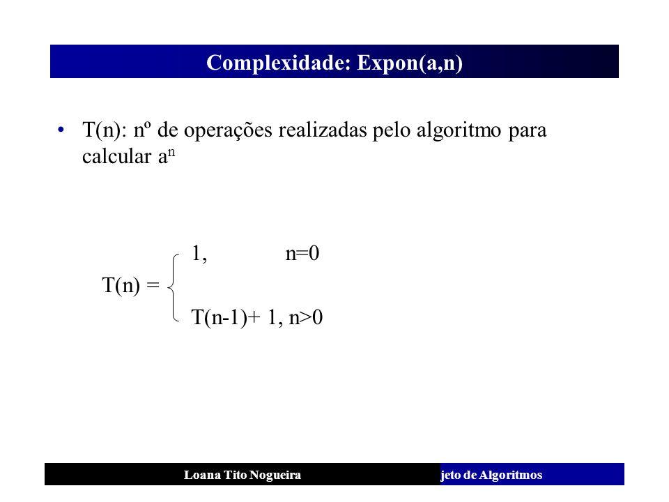 Análise e Projeto de AlgoritmosLoana Tito Nogueira Complexidade: Expon(a,n) T(n): nº de operações realizadas pelo algoritmo para calcular a n 1, n=0 T