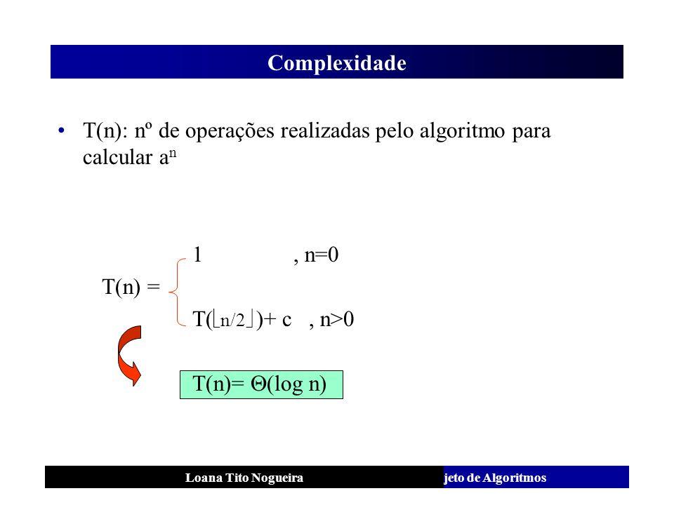 Análise e Projeto de AlgoritmosLoana Tito Nogueira Complexidade T(n): nº de operações realizadas pelo algoritmo para calcular a n 1, n=0 T(n) = T( n/2