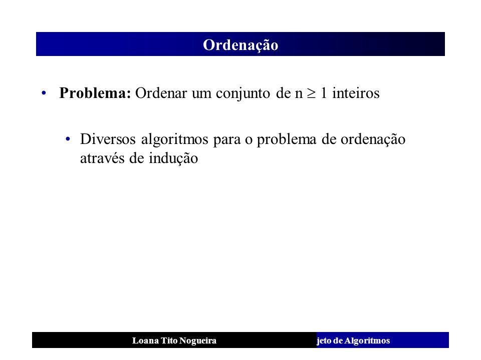 Análise e Projeto de AlgoritmosLoana Tito Nogueira Ordenação Problema: Ordenar um conjunto de n 1 inteiros Diversos algoritmos para o problema de orde