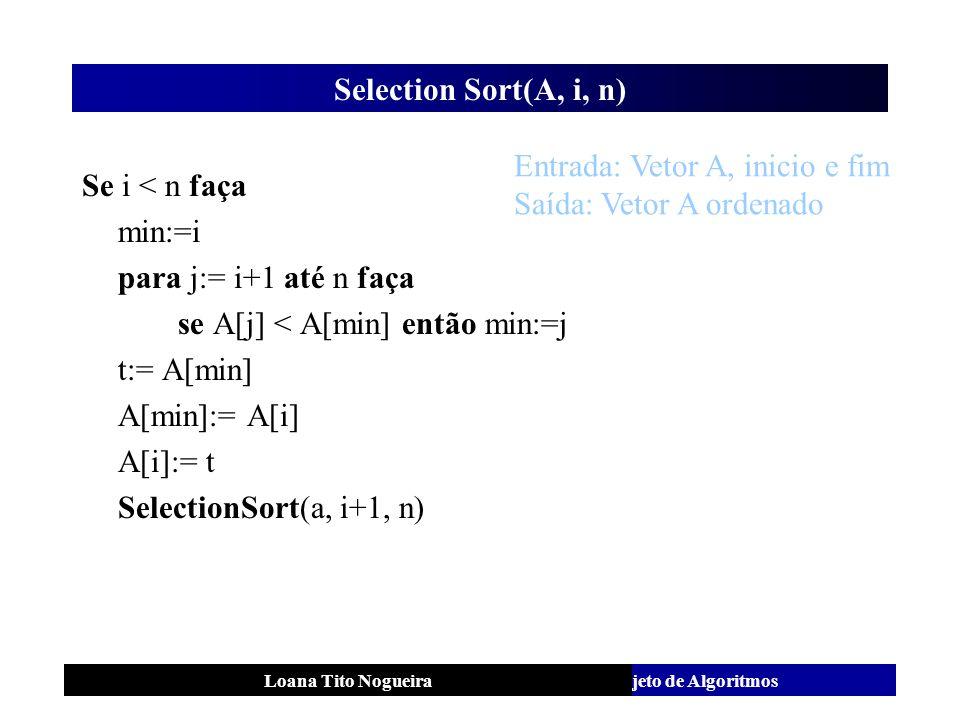 Análise e Projeto de AlgoritmosLoana Tito Nogueira Selection Sort(A, i, n) Se i < n faça min:=i para j:= i+1 até n faça se A[j] < A[min] então min:=j
