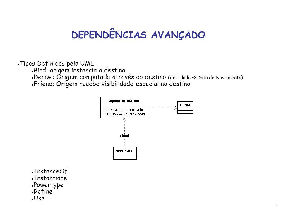 3 DEPENDÊNCIAS AVANÇADO Tipos Definidos pela UML Bind: origem instancia o destino Derive: Origem computada através do destino (ex.