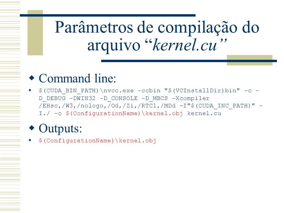 Parâmetros de compilação do arquivo kernel.cu Command line: $(CUDA_BIN_PATH)\nvcc.exe -ccbin