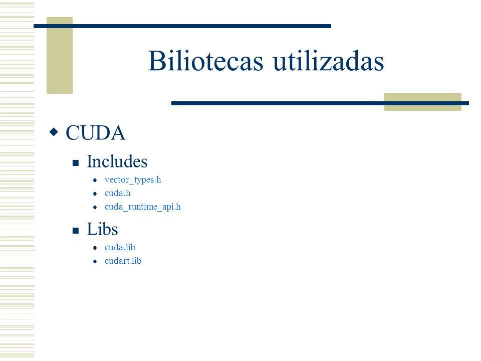 Biliotecas utilizadas CUDA Includes vector_types.h cuda.h cuda_runtime_api.h Libs cuda.lib cudart.lib