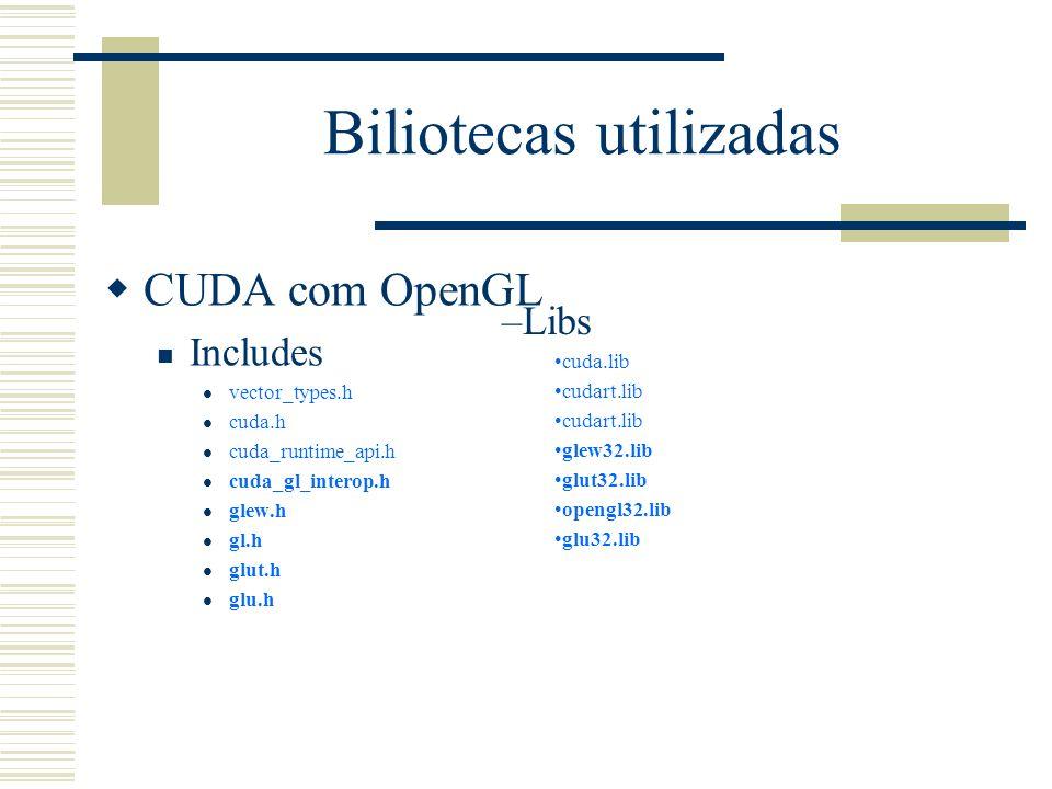 Biliotecas utilizadas CUDA com OpenGL Includes vector_types.h cuda.h cuda_runtime_api.h cuda_gl_interop.h glew.h gl.h glut.h glu.h –Libs cuda.lib cuda