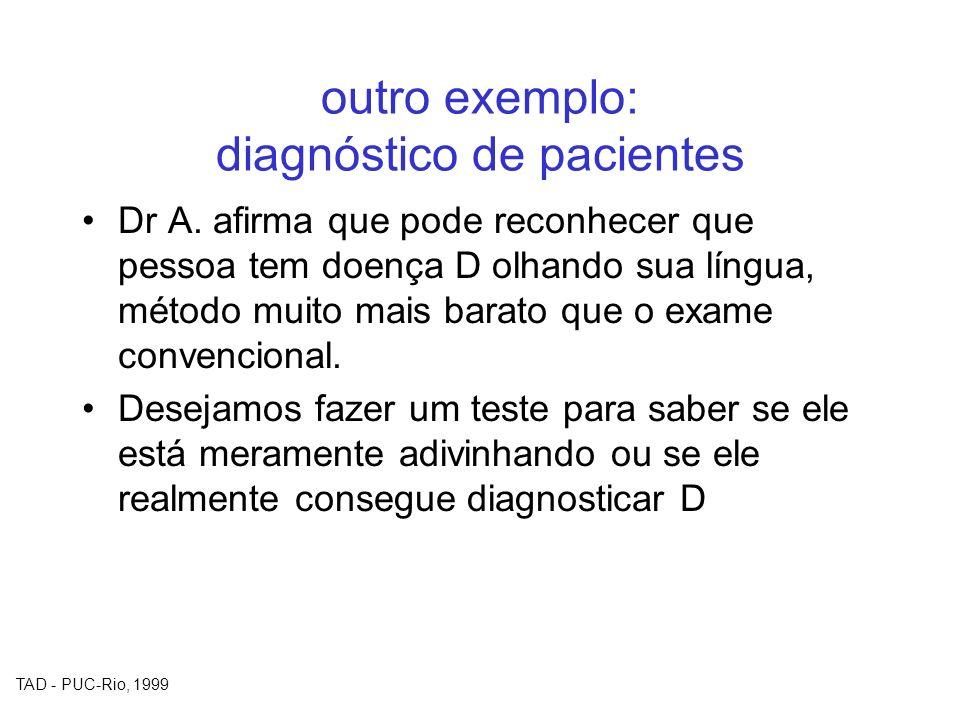 TAD - PUC-Rio, 1999 outro exemplo: diagnóstico de pacientes Dr A. afirma que pode reconhecer que pessoa tem doença D olhando sua língua, método muito