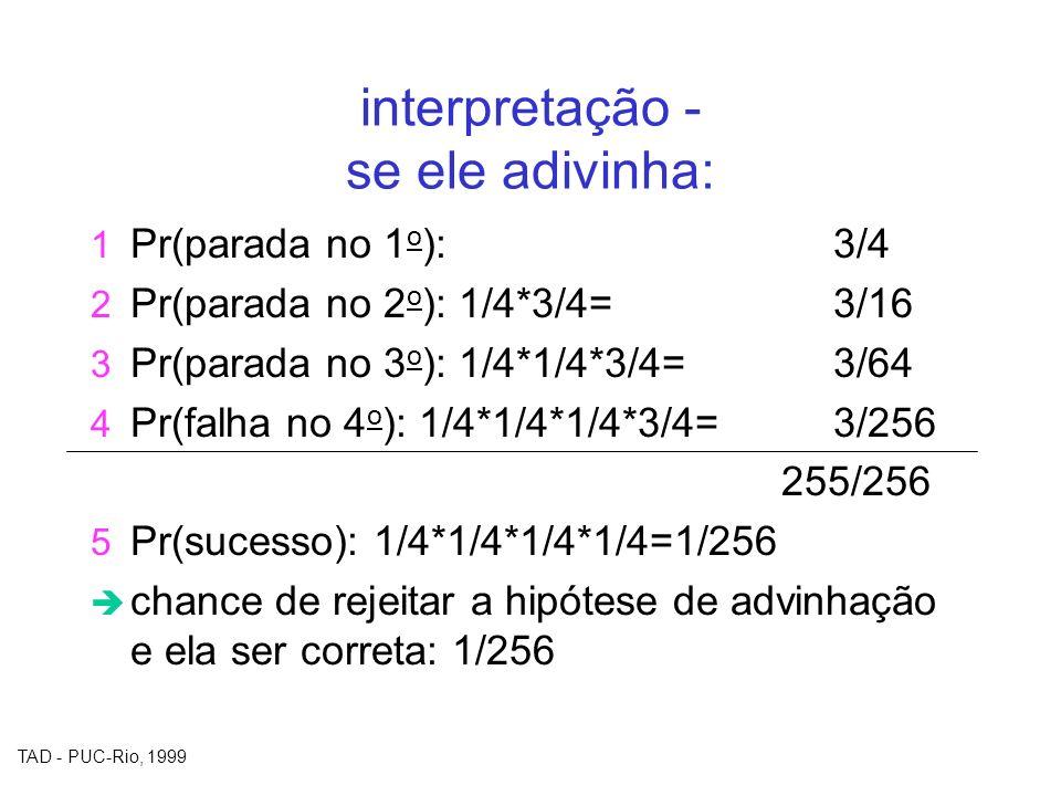 TAD - PUC-Rio, 1999 interpretação - se ele adivinha: 1 Pr(parada no 1 o ): 3/4 2 Pr(parada no 2 o ): 1/4*3/4=3/16 3 Pr(parada no 3 o ): 1/4*1/4*3/4=3/