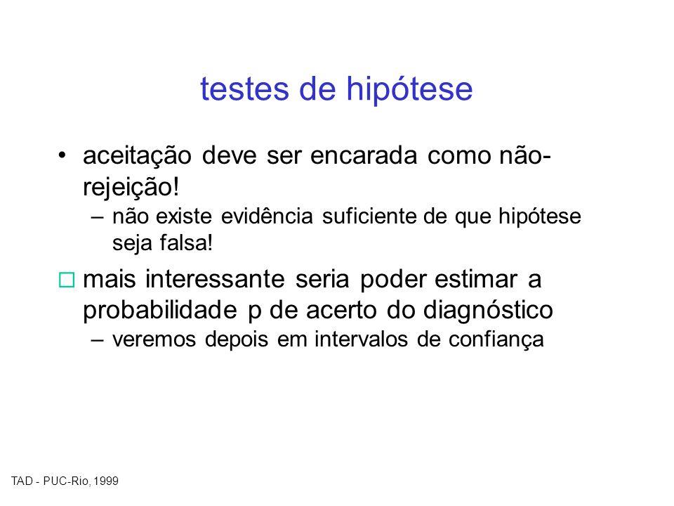 TAD - PUC-Rio, 1999 testes de hipótese aceitação deve ser encarada como não- rejeição! –não existe evidência suficiente de que hipótese seja falsa! ma