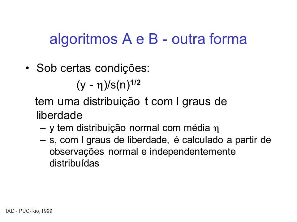 TAD - PUC-Rio, 1999 algoritmos A e B - outra forma Sob certas condições: (y - )/s(n) 1/2 tem uma distribuição t com l graus de liberdade –y tem distri