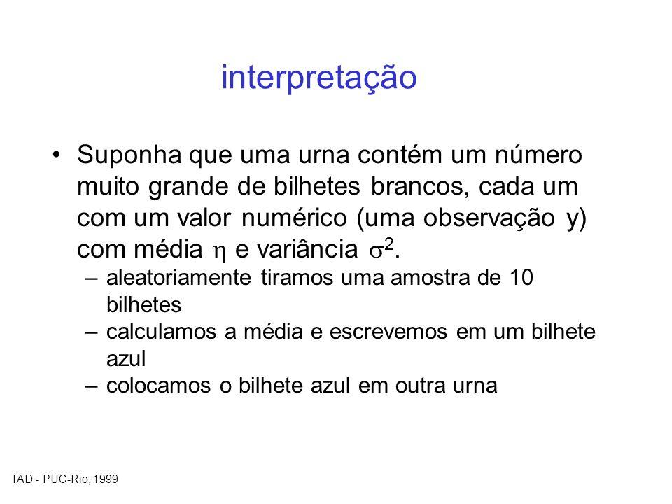 TAD - PUC-Rio, 1999 interpretação Suponha que uma urna contém um número muito grande de bilhetes brancos, cada um com um valor numérico (uma observaçã
