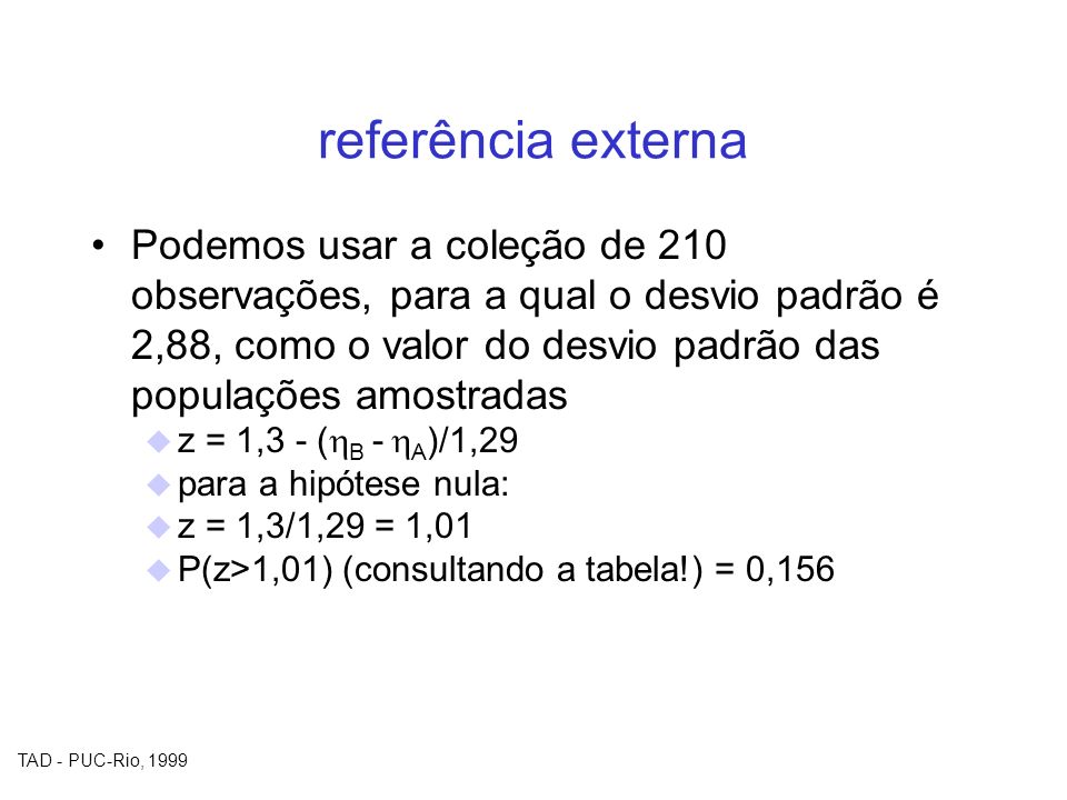TAD - PUC-Rio, 1999 referência externa Podemos usar a coleção de 210 observações, para a qual o desvio padrão é 2,88, como o valor do desvio padrão da