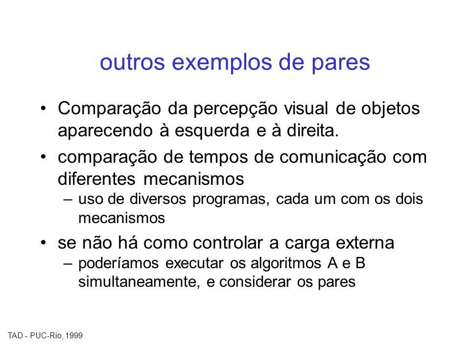 TAD - PUC-Rio, 1999 outros exemplos de pares Comparação da percepção visual de objetos aparecendo à esquerda e à direita. comparação de tempos de comu