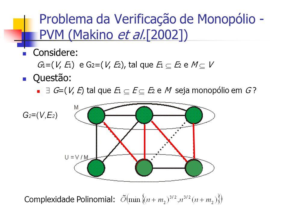 Problema da Verificação de Monopólio - PVM (Makino et al.[2002]) Considere: G 1 =(V, E 1 ) e G 2 =(V, E 2 ), tal que E 1 E 2 e M V Questão: G=(V, E) t