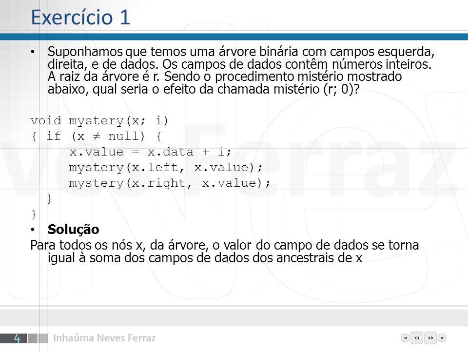 Exercício 2 O percurso infixo em uma árvore de busca binária gera uma lista classificada.