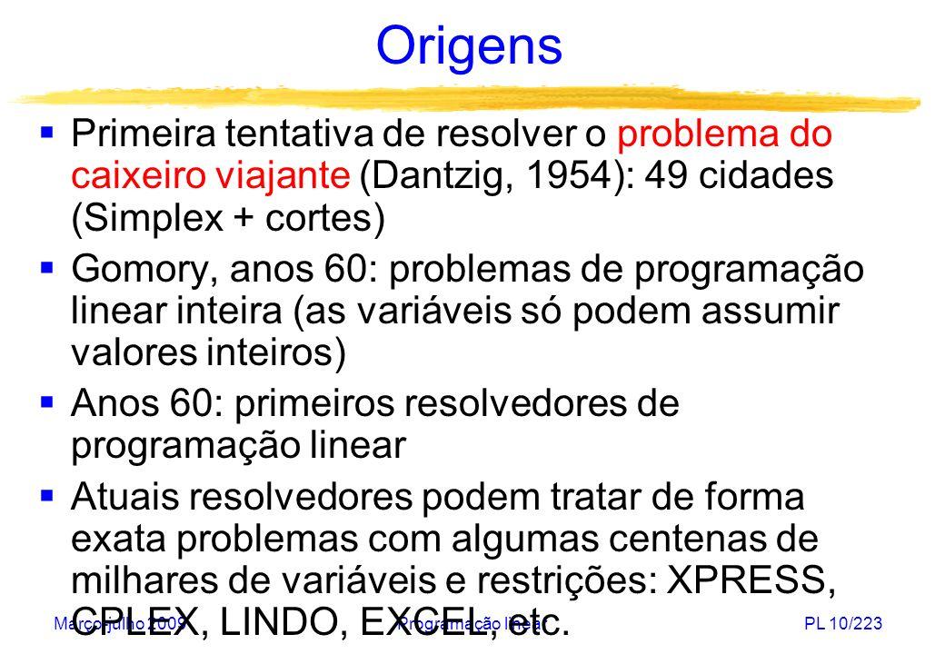 Março-julho 2009Programação linearPL 10/223 Origens Primeira tentativa de resolver o problema do caixeiro viajante (Dantzig, 1954): 49 cidades (Simple