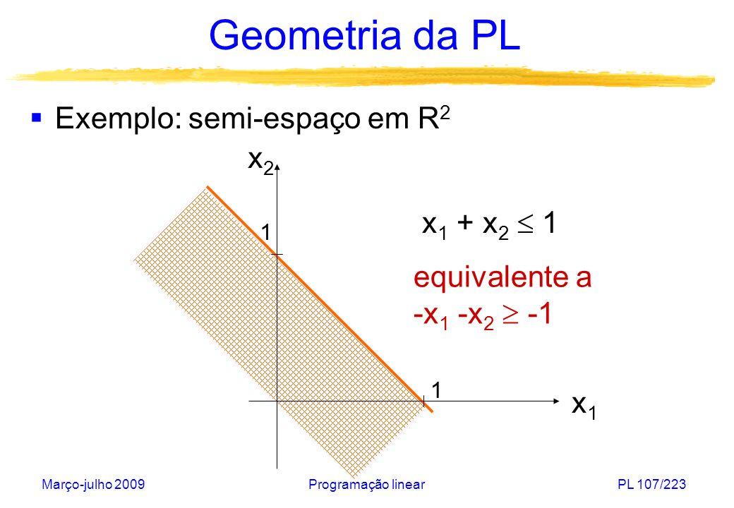 Março-julho 2009Programação linearPL 108/223 Geometria da PL Um conjunto S é convexo se para qualquer par de elementos x,y S e qualquer [0,1], então.x+(1- ).y S.