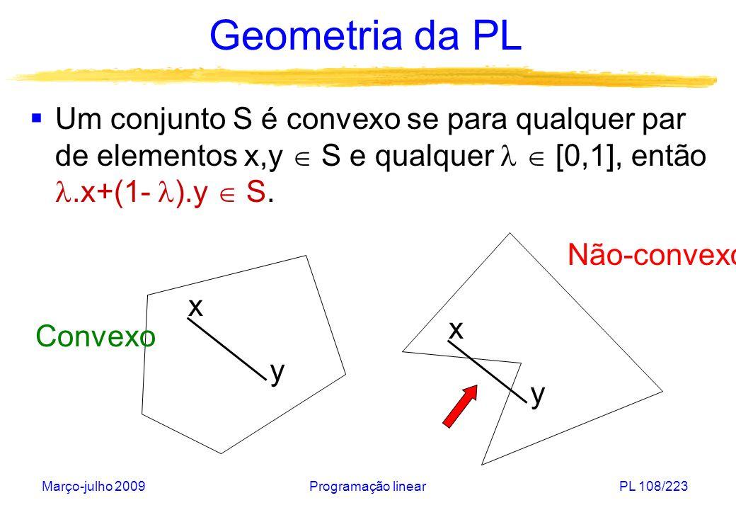 Março-julho 2009Programação linearPL 108/223 Geometria da PL Um conjunto S é convexo se para qualquer par de elementos x,y S e qualquer [0,1], então.x